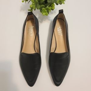Franco Sarto Leather Pointed Toe Flats Black 8